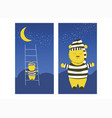cute bear is climbing moon sleepy bear is vector image