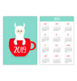 cute llama alpaca face head red coffee tea cup vector image vector image