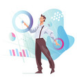 data scientist looking and interacting vector image vector image