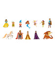 fairy tale characters cartoon icon set vector image