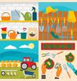 farming equipment banner set flat style vector image