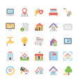 flat icons collection of real estate vector image vector image