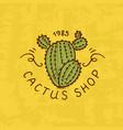 flower shop emblem or cactus logo vintage bouquet vector image vector image