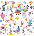group of cartoon characters fun seamless pattern vector image vector image