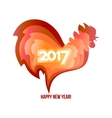 Happy New Year 2017 of the red rooster vector image vector image