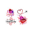 happy valentines day template set vector image vector image