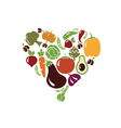 heart made of vegetables vector image vector image