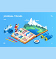 isometric screen for travel journal or photo album vector image vector image