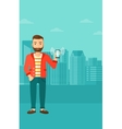 Man holding ringing telephone vector image vector image