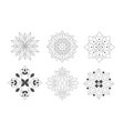 ornamental round graphic flowers set monochrome vector image