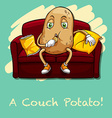 Potato eating chips on couch vector image vector image