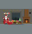 santa claus with christmas tree and gift boxes in vector image