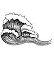 sea wave sketch hand drawn sketch with vector image vector image