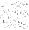 seamless pattern with man walking in mountains vector image vector image