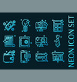 set business blue glowing neon icons vector image