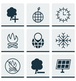 set of 9 eco icons includes pin earth snow vector image vector image