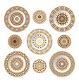 set of decorative plates with a orange pattern vector image vector image
