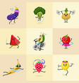 set of sports fruit characters cute healthy vector image
