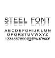 steel alphabet font vector image vector image