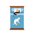 teen boy sleeping in the bed with his dog view vector image