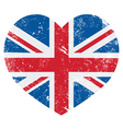UK Great Britain retro heart flag vector image