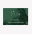 wedding rsvp template in green color invitation vector image vector image