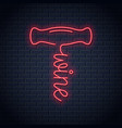 wine corkscrew neon logo red and white wine vector image vector image