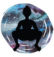 women silhouette squat yoga pose malasana vector image