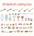 Handcraft cooking icons set vector image