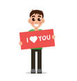 boy holding poster with word i love you vector image