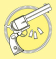 cowboy revolver with bullets vector image