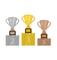 gold cup champion on the pedestal the first place vector image