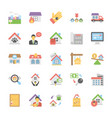 a pack of real estate flat icons vector image