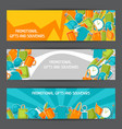 advertising banners with promotional gifts and vector image vector image
