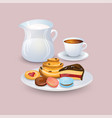 appetizing plate with pastries and sweets a jug vector image vector image