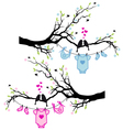 baboy and girl clothes with birds on tree vector image vector image