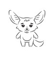 black and white cute fennec fox who calmly vector image