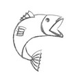 blurred sketch silhouette of open mouth trout fish vector image vector image