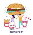burger order flat style design vector image vector image