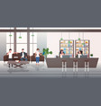 businesspeople discussing during meeting in lobby vector image