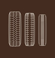 car tires traces isolated icons of tire vector image