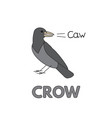 cartoon crow flashcard for children vector image vector image