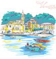 colorful houses in vernazza ligury italy vector image