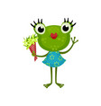 cute girl frog standing with bouquet of flowers vector image