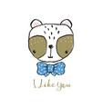 cute panda portrait hand drawn lettering vector image