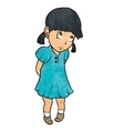 Cute sad guilty little girl in blue dress Cartoon