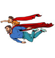 dad and son are superheroes fatherhood and vector image vector image