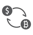 exchange glyph icon bitcoin and money vector image vector image