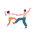 faceless pair holding hands and dancing lindy hop vector image