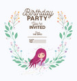 fairy with floral decoration invitation card vector image vector image